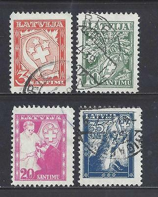 LATVIA 1936 WHITE CROSS FUND SET OF 4 USED  SG257/260  cat £26