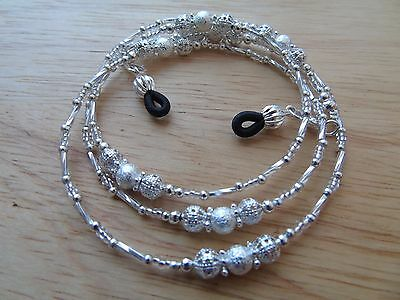 Handmade Silver Coloured Beaded Spectacle / Glasses Chain / Necklace.