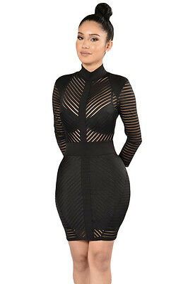 Abito cono nudo trasparente aderente Party Ballo Mini Striped Bodycon Dress M