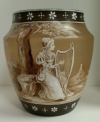 Antique Czech Mary Gregory Lady with Harp Cameo Art Glass Vase Early 1900s