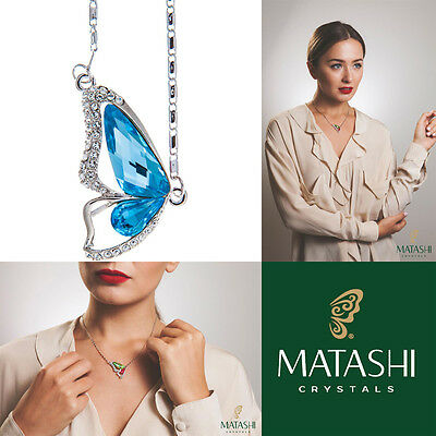 "16"" Rhodium Plated Necklace w/ Butterfly Wing & Ocean Blue Crystals by Matashi"