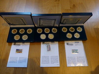 2002, 2003 & 2004 USA 50 State Quarters Gold Plated Special Edition Coin Set x3