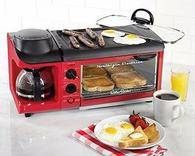 Small Appliances For Kitchen 3 In 1 Toaster Oven Coffeemaker Griddle Nostalgia