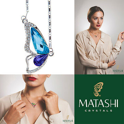 "16"" Rhodium Plated Necklace w/ Butterfly Wing & Purple Blue Crystals by Matashi"