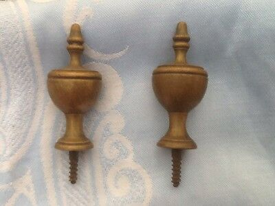 A Pair Of Brass Vintage Clock Or Barometer Finials.