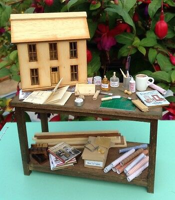 1/12, Dolls House/ hobby making bench, accessories, diorama