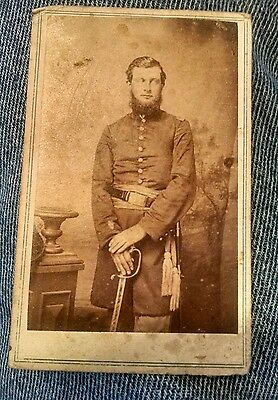 CDV Armed Union Civil War Officer with Engraved Sword