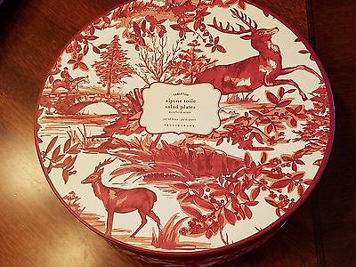 Pottery Barn Alpine Toile Salad Plates set of 4 New in gift Box