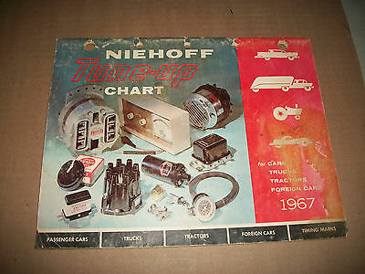 1967 ISSUE NIEHOFF TUNE-UP CHART and PARTS GUIDE 1955-1967 CARS TRUCKS AMERICAN