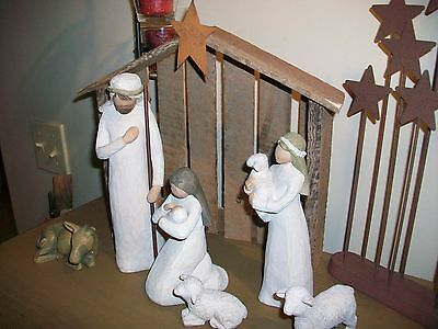 Wooden Christmas Nativity Creche Background Sized to match the Willow Tree Set