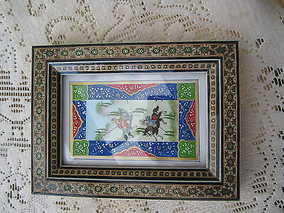 Persian Khatam frame with hand painted borders and picture.