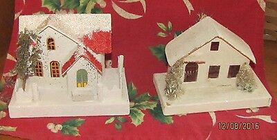 2 VINTAGE Christmas Village Putz  Cardboard Houses Mica Stained Glass Windows