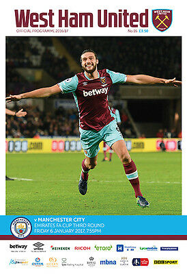 West Ham United V Manchester City- Official Programme-6Th January 2017