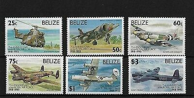 Belize 1993, 75Th Anniversary Of The R.a.f. Mnh, Sg1138/43