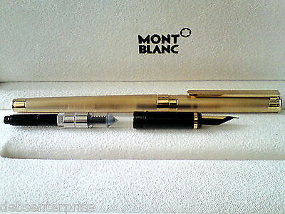 Rare Montblanc Noblesse Guilloche Gold Plated Fountain Pen. 18K Gold Broad Nib