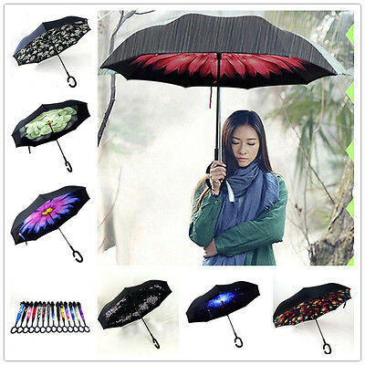 C-Handle Folding Windproof  Double Layer Upside Down Inverted Umbrella Reverse