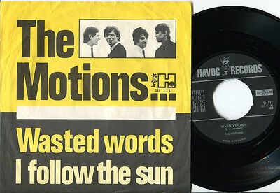 MOTIONS - Wasted Words / I Follow The Sun 45 Dutch 1965 MOD BEAT FREAKBEAT PS
