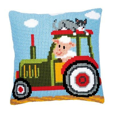 "Vervaco TRACTOR Chunky Cross Stitch Cushion Front Kit 16"" x 16"""