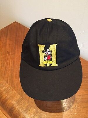 "Mickey Mouse Black/Gold ""M"" Cap Hat Flex Fit"
