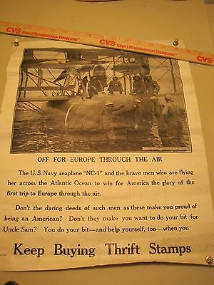 Orig US WWI Poster 1919 Navy Seaplane NC-1 Sailors Thrift Stamps Great War