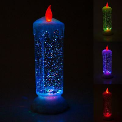 24cm Swirling Led Colour Changing Glitter Candle Light Christmas