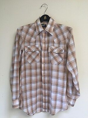 Vtg LEVI'S Brown Plaid Pearl Snap Western Shirt made in USA Med