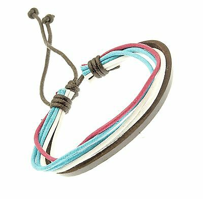 Leather and Cord Strap Bracelet Wristband Blue Pink White Surf Surfer Adjustable