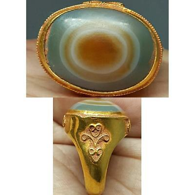 23k Solid Gold Ring Ancient Evil Eye protector Agate stone # M