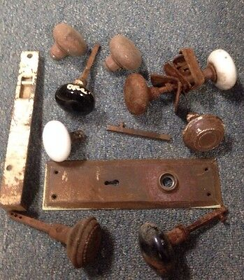 Vintage Door Hardware Knobs Plate Lock Parts Lot Rustic Rusty Salvage