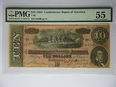 Confederate Currency, 1864, $10, T-68, PMG About Uncir - 55