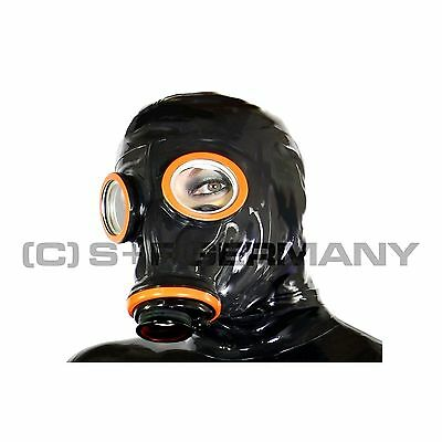 █ Deluxe Gas Mask + Hood Set F. Fetish Leather Cosplay Skirt Dress Corset Gloves