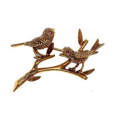 Vintage Cartier Bird Pin From 1950's 14k Solid Yellow Gold Authentic