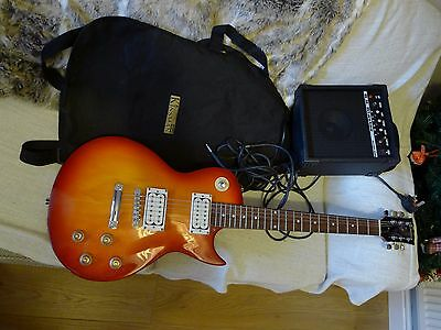 electric guitar with amplifier and bag
