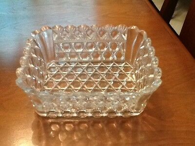 Pressed Glass Rectangular Nut or Candy Dish - Nice Pattern