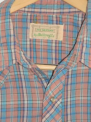 Vintage Men's The Western By Bellcraft Pearl Snap Shirt Plaid Large L Excellent