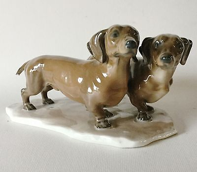 1940s Rosenthal Selb Porcelain Double DACHSHUND Dog Figurine Germany AsFound