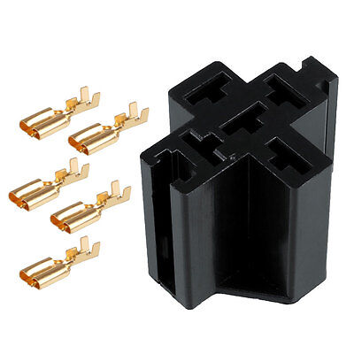 Car Truck 5 Pin Relay Socket Relay Holder with 5Pcs 6.3mm Copper Terminal