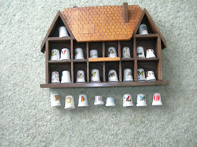 WOODEN THIMBLE DISPLAY HOUSE with 14 Display Sections and 26 China Thimbles