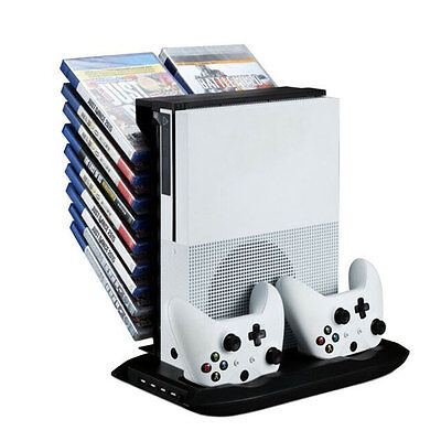 Stand Holder Cooling Fan Charging Station Storage For XBOX ONE S Black