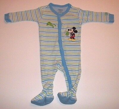 Baby Boy Pajamas Size 0-3 Months Disney Mickey Mouse Footed Long Sleeve Blue