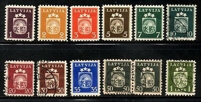 Latvia 1940 Coats of Arms  SG.296/306 Set of 11 Mint (Hinged) and Used (1 Pair)