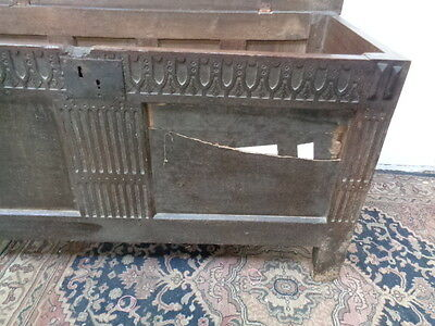 Original Antique 18Th Century Solid Oak Coffer Chest
