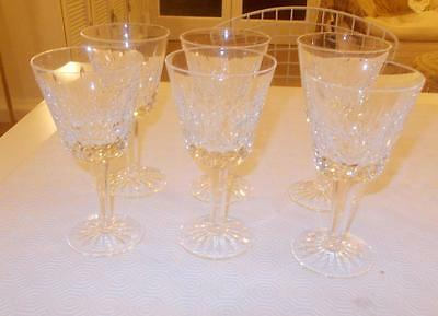 Vintage Set 6 Waterford Crystal Glass Claret Wine Glasses 5.75In Height