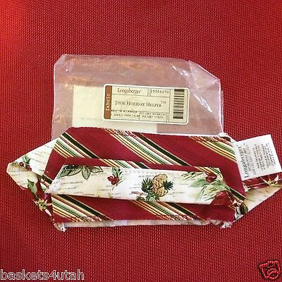 Longaberger 2006 HOLIDAY HELPER Basket LINER~HOLIDAY STRIPE/BOTANICAL~  NEW!