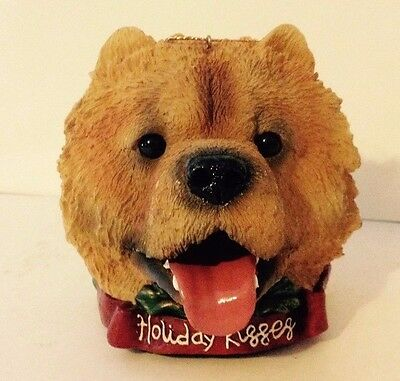 Vintage Holiday Kisses CHOW CHOW Dog Head Ornament
