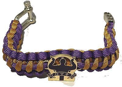 Omega Psi Phi Fraternity Survival Paracord Bracelet with Organization Symbol-New