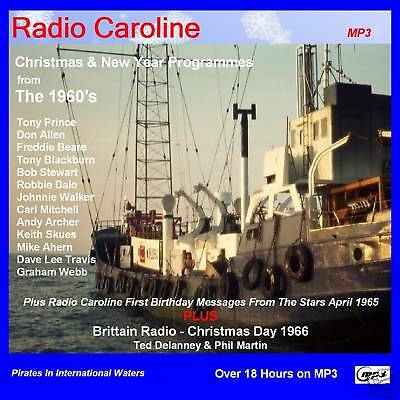 Pirate Radio Caroline Christmas & New Year 1960s 18hrs+ On DVD MP3 DISC