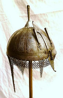 Antique HELMET Indo Persian SILVER GOLD INLAY Ottoman Islamic Khula Khud Armou