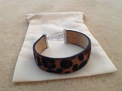 fossil leopard suede and leather ladies cuff wristband new with gift bag