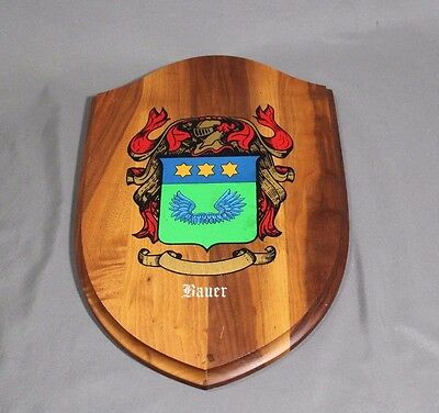 Bauer Family Crest Coat of Arms  Hanging Wood Wall Plaque - Free Shipping